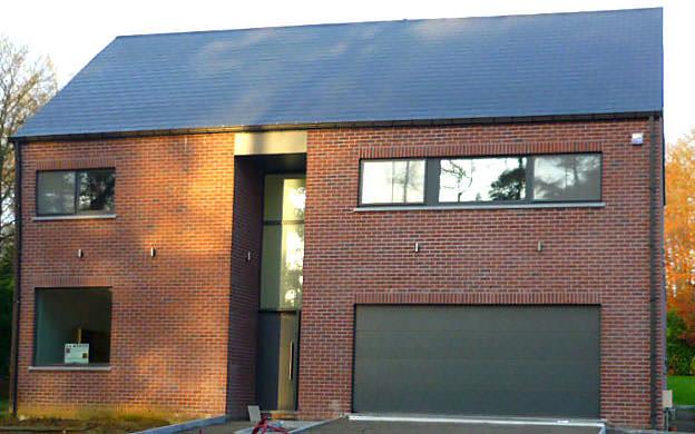Châssis et Portes ALU Gris Anthracite avec traverses horizontales, porte de garage Hörmann Gris Anthracite